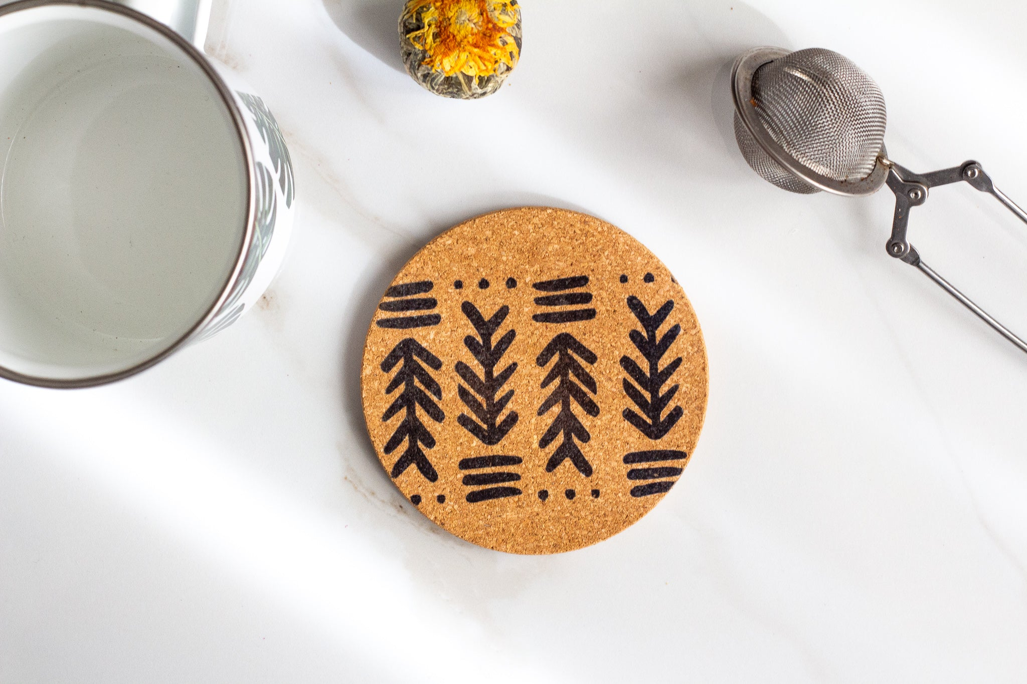 Arrow Pattern All Natural Cork Coaster Set of 4 Coco and Seed