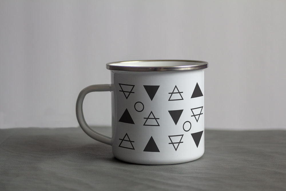 Natural Element Pattern Enamel Mug
