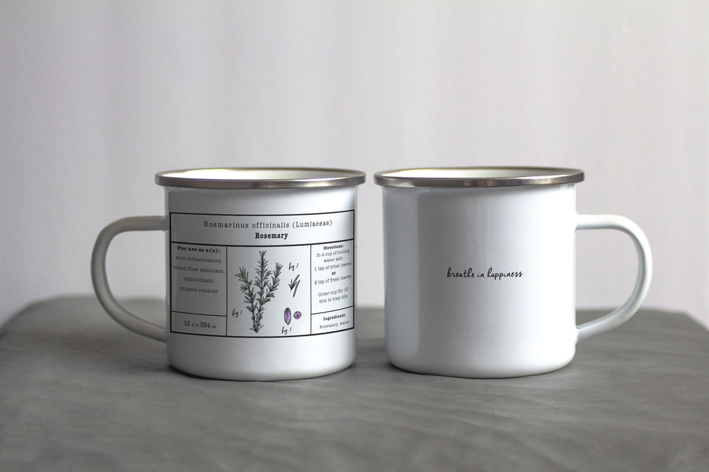 Rosemary Herbal Tea Enamel Mug
