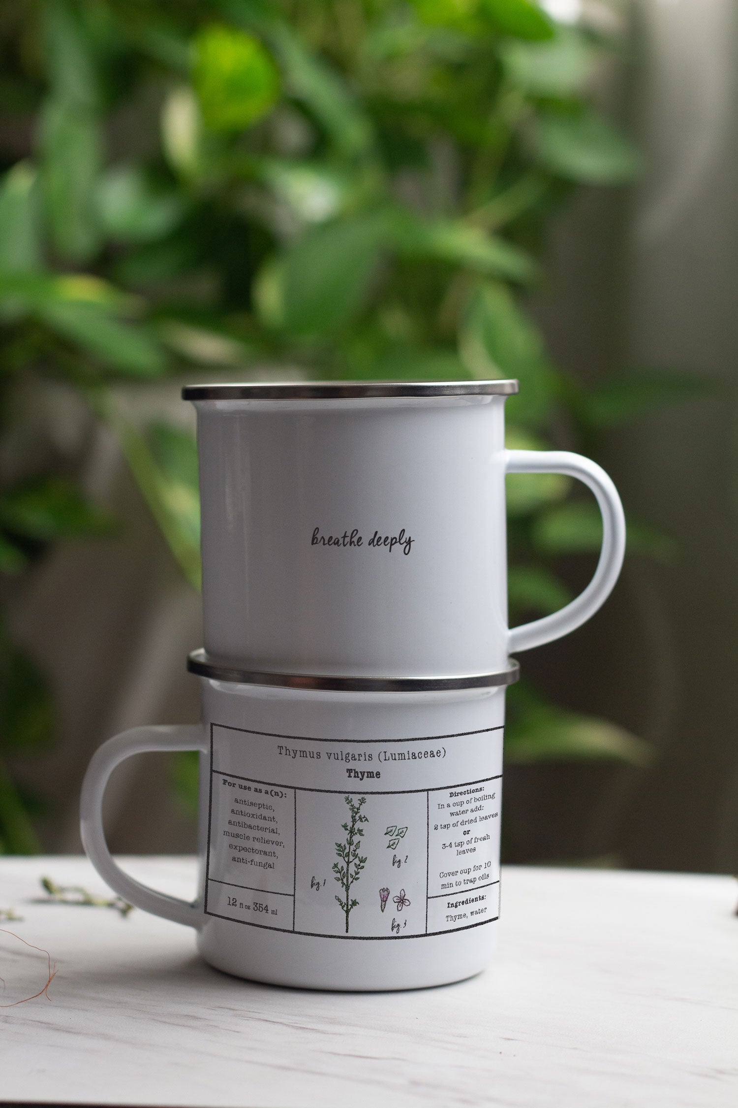 Thyme Herbal Tea Enamel Mug