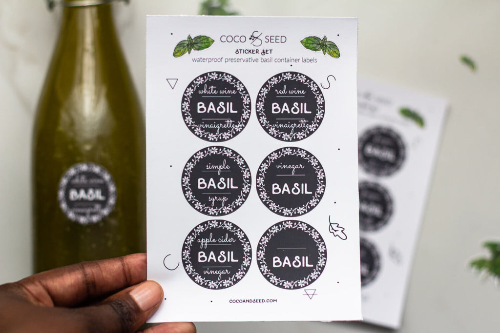 Basil Preservation Vinyl Container Labels