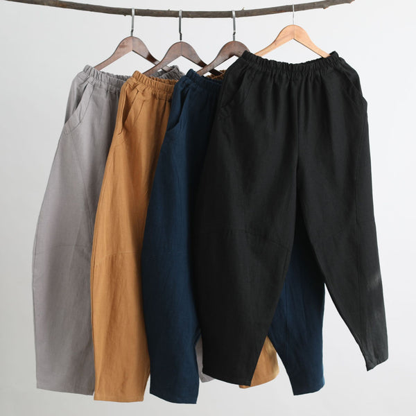 Men New Style Causal Linen and Cotton Small Leg Bloom Pants