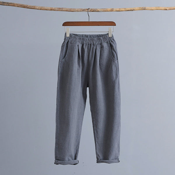2019 NEW! Women Water-washed Linen and Cotton Casual Cropped Pants