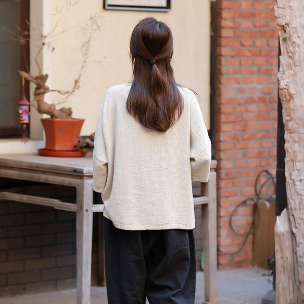 2019 Autumn NEW! Simple Pure Color Retro Style Women Half Sleeve Linen and Cotton T-shirt