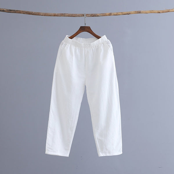 Women Linen and Cotton Casual Pure Color Cropped Peg-top Pants