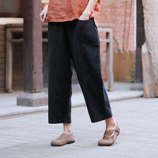 Women Linen and Cotton Casual Loose Cropped Pants