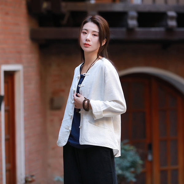 Pure Color Asian Style Women Long Sleeve Linen Cropped Cardigan Blouses