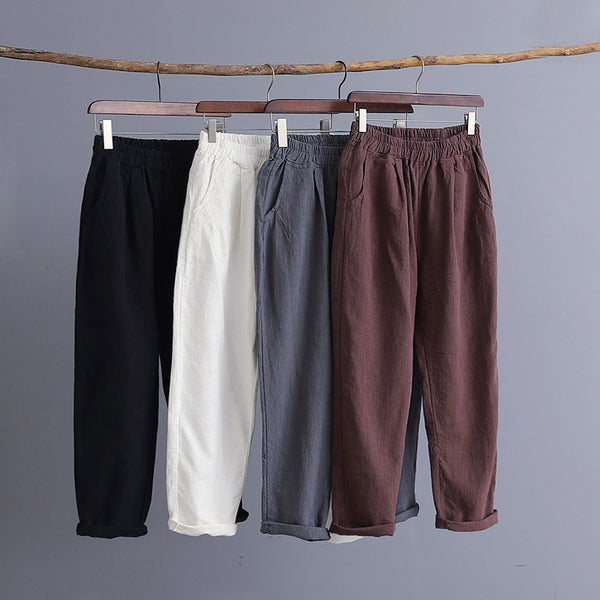 Women Water-washed Linen and Cotton Casual Cropped Pants