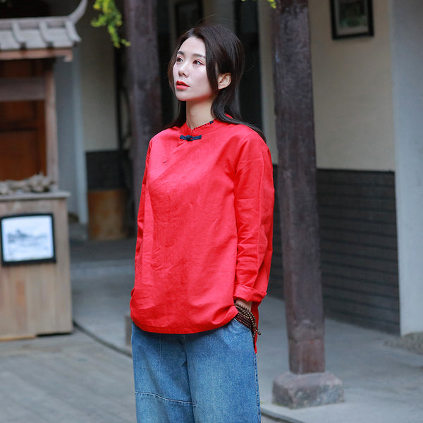Pure Color Asian Style Women Long Sleeve Linen Blouses