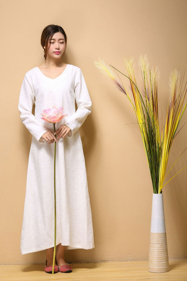 Women Simple Pure Color Hanfu Type Linen and Cotton Tea Length Dress