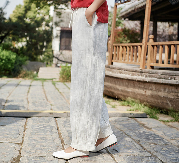 2019 NEW! Women Linen and Cotton Retro Loose Style Women Ankle Length Trousers