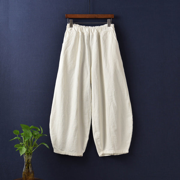 Women Natural Ramie Linen Lantern Cropped Pants