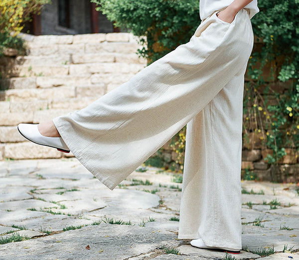 2019 NEW! Women Retro Style Linen and Cotton Sand Washed Wide Leg Opening Pants