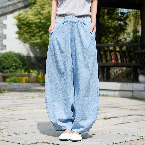 Women Natural Ramie Linen Cotton and Linen Lantern Leisure Pants