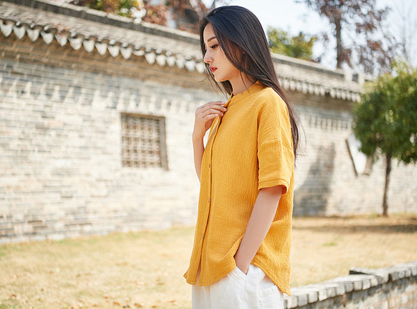 2019 NEW! Simple Pure Color Linen and Cotton Women Short Sleeve Cardigan Blouses