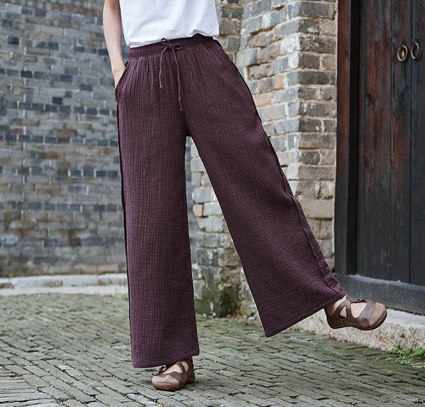 Women Retro Straight Style Linen and Cotton Ankle Length Wide Leg Opening Pants