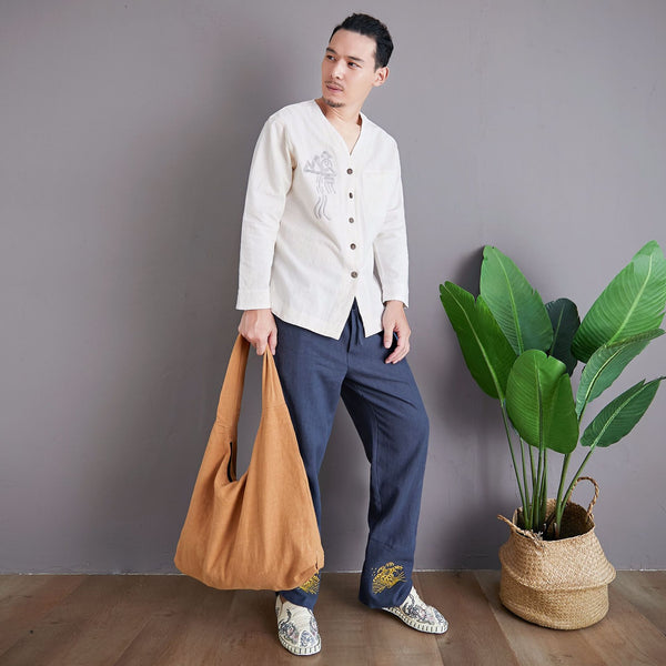 Linen and Cotton Shoulder Bag