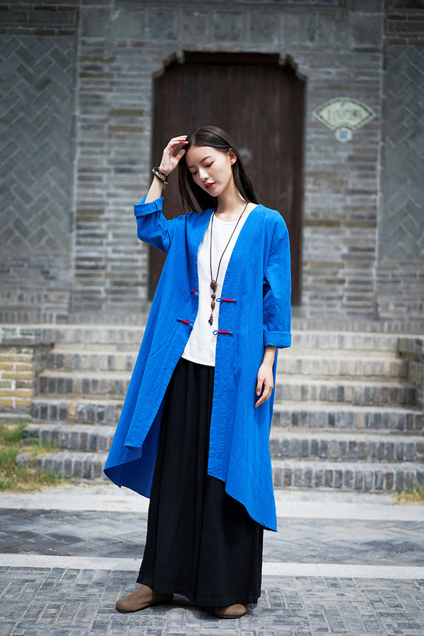 2020 WINTER NEW! Women Retro Style Linen and Cotton Irregular Length Coat