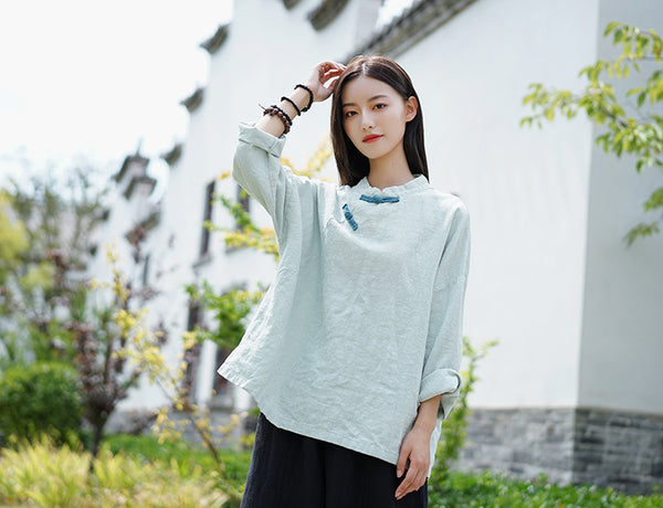 2020 WINTER NEW! Women Asian Retro Style Linen and Cotton Long Sleeve Blouses