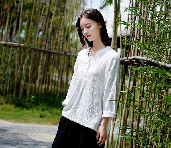 2020 WINTER NEW! Women Causal Style Linen and Cotton Long Sleeve Wrinkled V-neck T-shirt