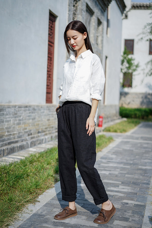 2020 WINTER NEW! Women Pure Color Linen and Cotton Baggy Pants