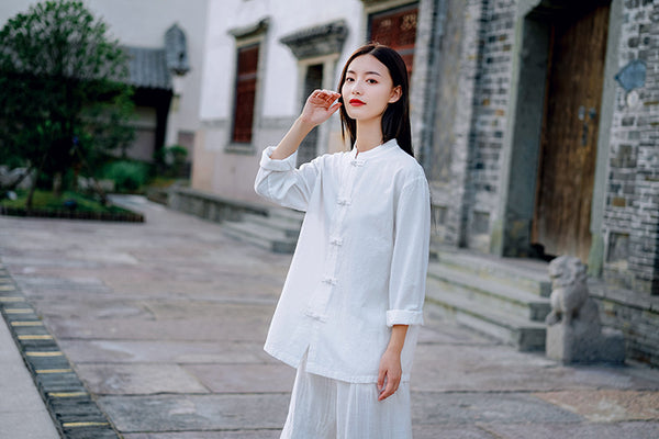 2020 WINTER NEW! Women TaiChi Style Linen and Cotton Long Sleeve Zen Tops