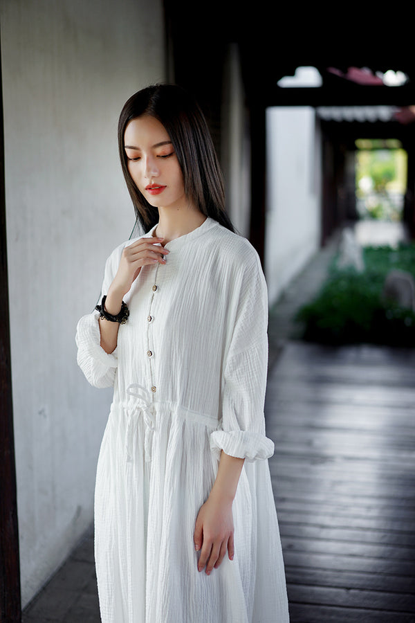 2020 WINTER NEW! Women Loose Linen and Cotton Wrinkled Long Sleeves Midi Dress