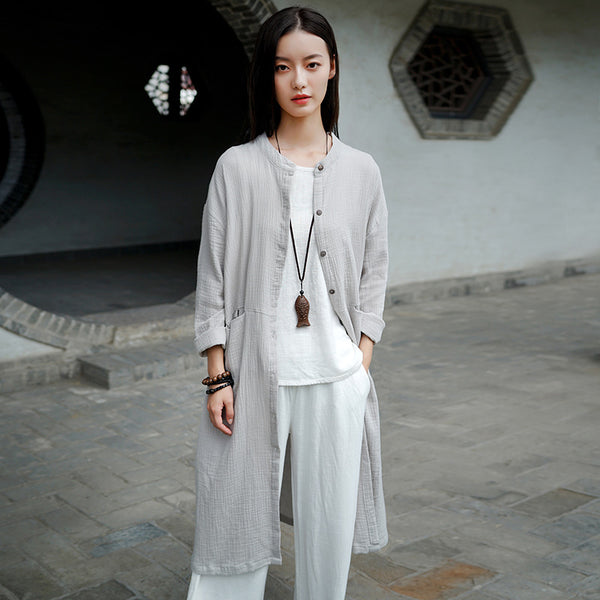 2020 WINTER NEW! Women Causal Style Linen and Cotton Light Coat