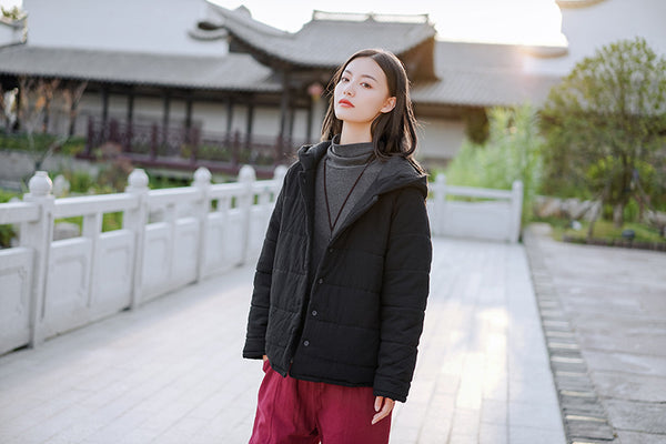 2020 WINTER NEW! Women Classic Style Linen and Cotton Quilted Hoodie Coat