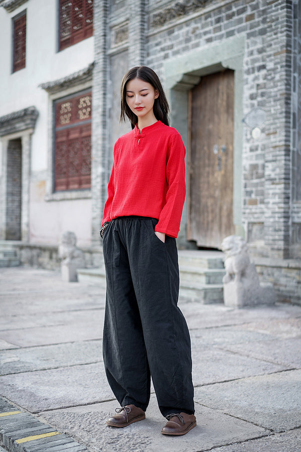 2020 WINTER NEW! Women Pure Color Linen and Cotton Quilted Lantern Pants