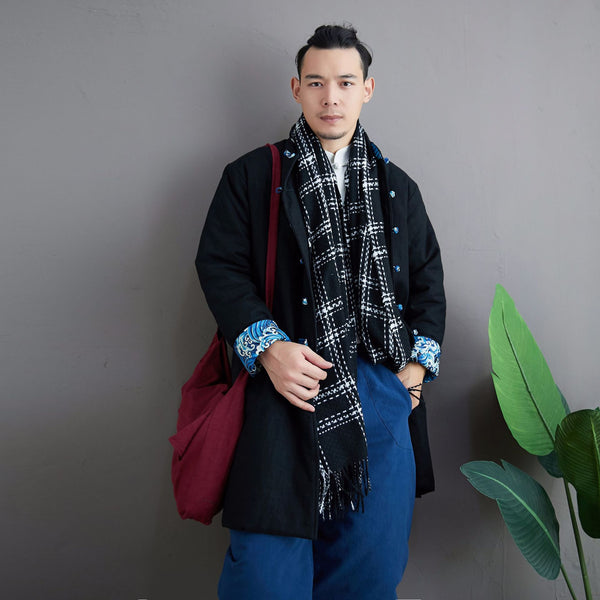 2020 NEW! Men Asian KungFu Style Middle Length Linen and Cotton Quilted Coat