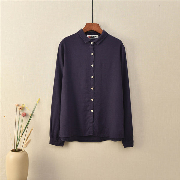 2020 NEW! Women Casual Style Sand-washed Linen and Cotton Long Sleeve Shirt