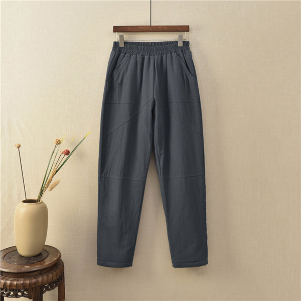 2020 NEW! Women Linen and Cotton Quilted Tapered Cropped Pants