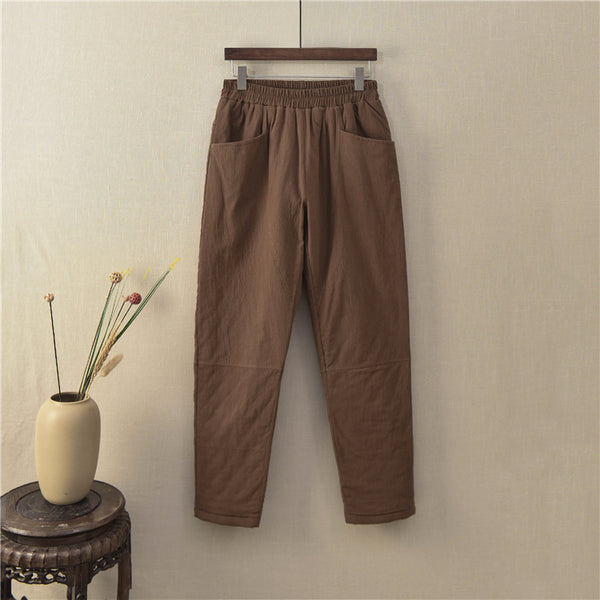 2020 NEW! Women Linen and Cotton Quilted Tapered Pants