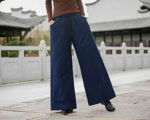 2020 NEW! Women Linen and Cotton Wide Leg Quilted Pants