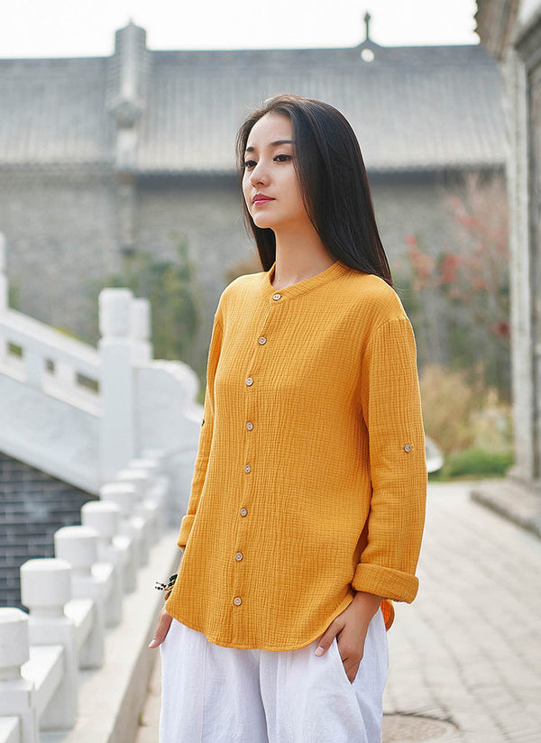 2020 NEW! Women Casual Style Wrinkle Linen and Cotton Long Sleeve Cardigan Shirt
