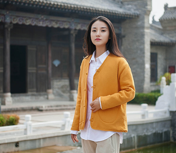 2020 NEW! Women Casual Style Wrinkle Linen and Cotton Long Sleeve Quilted Cardigan Shirt