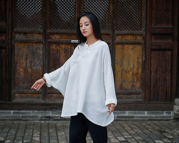 2020 NEW! Women Modern Chinese Style Loose Wrinkle Linen and Cotton Blouses