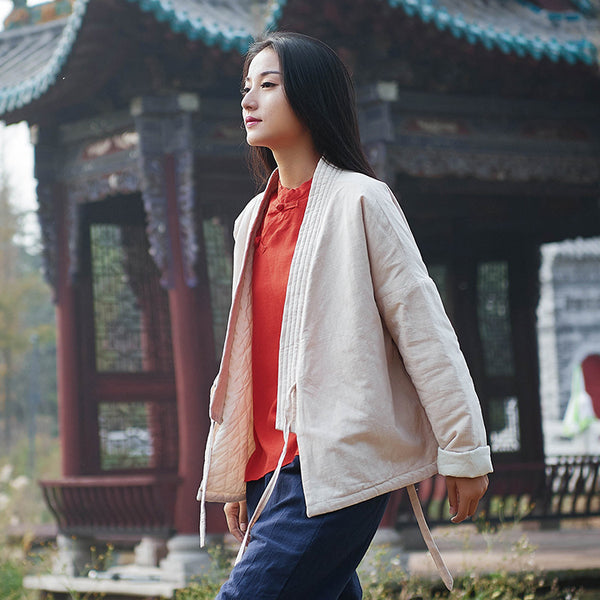 2020 NEW! Women Eastern Zen Style Linen and Cotton Long Sleeve Quilted Short Coat