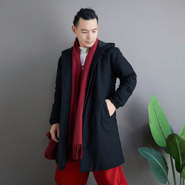 2020 NEW! Men Simple Pure Color Style Middle Length Linen and Cotton Quilted Coat with Hoodie