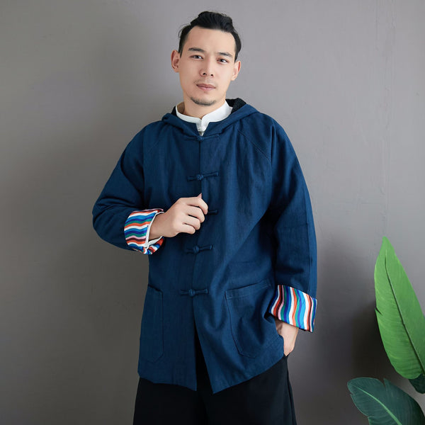 2020 NEW! Men Simple Pure Color Style Linen and Cotton Jacket with Hoodie (inner with velvet)