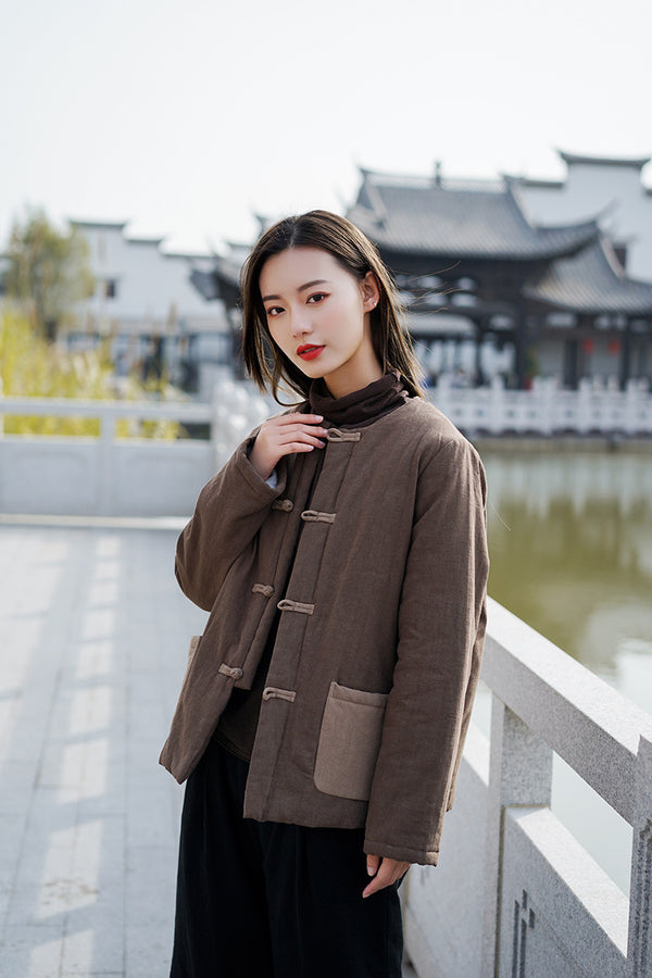 2020 NEW! Women Chinese Style Linen and Cotton Quilted Jacket