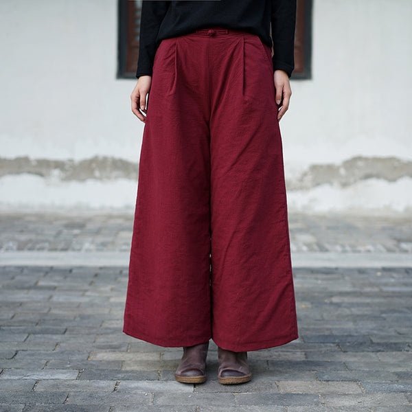 2020 NEW! Women Pure Color Linen and Cotton Quilted Wide Leg Pants