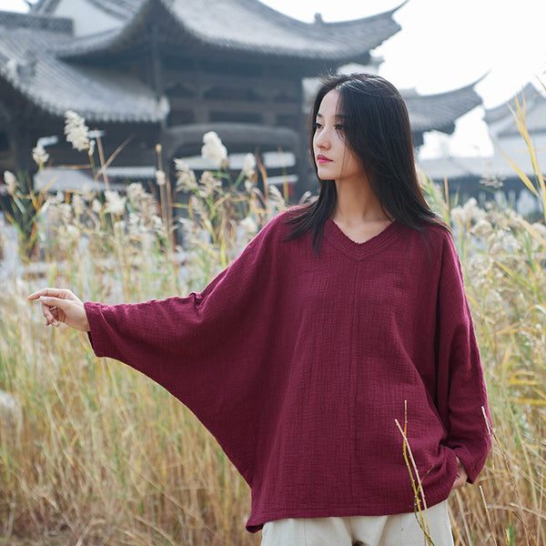 2020 NEW! Women Casual Style Linen and Cotton Long Sleeve Loose T-shirt