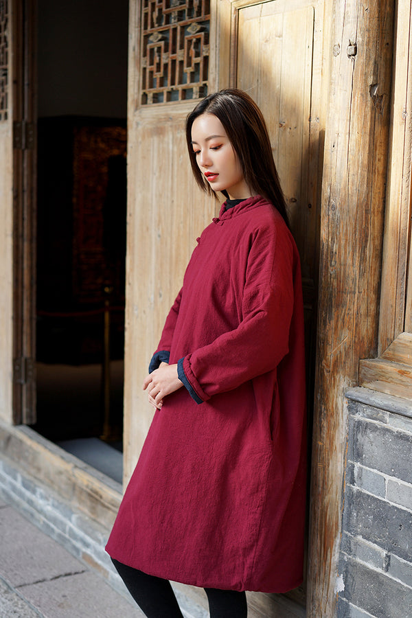 2020 NEW! Women Old Chinese Style Diagonal Buckle Linen and Cotton Quilted Tunic