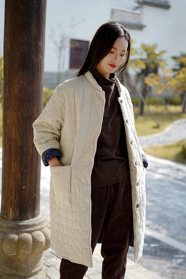 2020 NEW! Women Retro Style Linen and Cotton Middle Length Quilted Coat