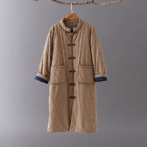 2020 NEW! Women Retro Style Middle Length Small Grid Linen and Cotton Short Quilted Coat