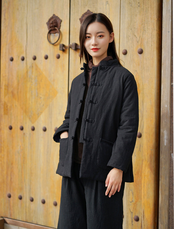 2020 NEW! Women Chinese Style Short Length Linen and Cotton Short Quilted Jacket