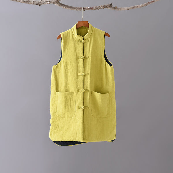 2020 NEW! Women Eastern Style Water-washed Linen and Cotton Quilted Vest
