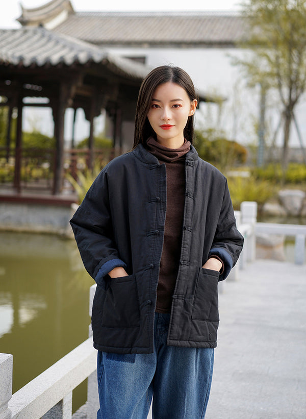 2020 NEW! Women Classic Chinese Style Linen and Cotton Quilted Jacket
